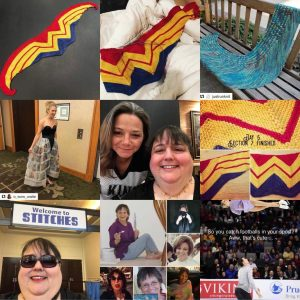 "A collage of 9 pictures. Left to right and top to bottom: Wonder Woman scarf completed on a black table; Wonder Woman Scarf on a white comforter; A repost of JustRunKnit's photo of a blue shawl; A repost from O_wow_Waite of author Jess Russell at the RWA Rita awards wearing a skirt with the image of every nominated book printed on it; Me and Jo in San Diego; Wonder Woman scarf in progress; A close up of my face with the Welcome to Stitches sign; A collage of various pics of my mom; Figure skaters with the woman spinning in the air parallel to the ice and the text ""So you catch Footballs in your sport? Aww. That's cute."""