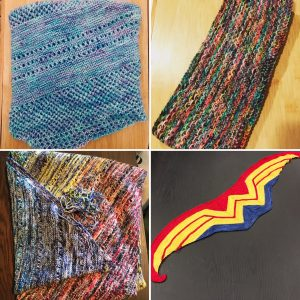 A collage of 4 pictures. Clockwise from top left: Antarktis shawl folded and knit in a bright blue yarn with some purple specks; Honey Cowl in a multi-colored yarn; Wonder Woman scarf which looks like the Wonder Woman symbol. Knit with red on the top, then yellow W logo, and blue on the bottom; Find your Fade shawl knit in 10 miniskeins of a rainbow colors with black.